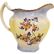 Harker Pottery Pitcher with Pink Flowers and Blue Leaves