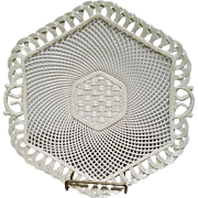 Belleek Hexagon Basket Weave Porcelain Lattice Woven Serving Tray