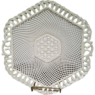 Belleek Hexagon Basket Weave Porcelain Lattice Woven Serving Tray