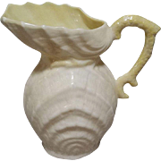 Belleek Neptune Shell Pitcher Creamer - 5th Mark - Green - 1955 to 1965