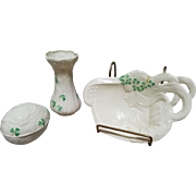 3 Pc Belleek Shamrock Vase, Trinket Egg Dish & Woman & Harp Trinket Tray Set