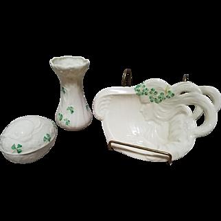 3 Pc Belleek Shamrock Vase, Trinket Egg Dish & Woman & Harp Trinket Tray Set