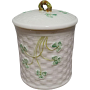 Belleek Shamrock Basketweave Jam or Condiment Jar - 6th Mark-Green from 1965-1980