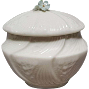 Belleek Trinket Box With Blue Flowers on Lid - 6th Mark - Green - 1965-1980