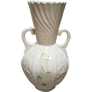 Belleek Double Handled Shamrock Vase - 6th Mark - Green - 1965 to 1980