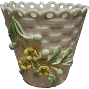 Belleek Basket Weave Pot Vase with Yellow Flowers - 6th Mark - Green 1965-1980
