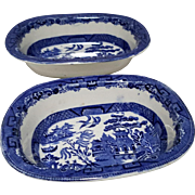 Set of 2 Blue Willow Oblong Bowls by Allerton & Sons
