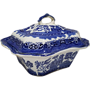 """Allerton's Blue Willow """"Smooth"""" Covered Dish Bowl"""