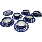 "Allerton's Blue Willow ""Smooth"" Set of 6 Cups & 8 Saucers"