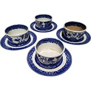 """Allerton's Blue Willow """"Smooth"""" Set of 4 Custard Dessert Cups and Saucers"""