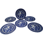 "Set of 6 Allerton's Blue Willow ""Smooth"" 7 3/4"" Salad Plates"