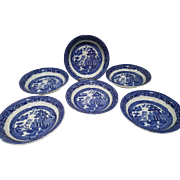 """Allerton's Blue Willow """"Smooth"""" Set of 6 Cereal Soup Bowls"""