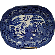 "Allerton's Blue Willow ""Smooth"" Small Serving Platter"