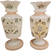 Pair of Antique Victorian Hand Blown Bristol Glass Hand Painted Mantle Vases