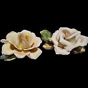 2 Capodimonte Porcelain Pale Yellow Pink Roses - Napoleon