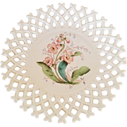 Challinor Taylor Milk Glass Lattice Plate with Pink Trumpet Vines - Antique