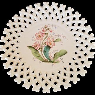 Challinor Taylor Milk Glass Lattice Plate with Pink Trumpet Vines - Antique