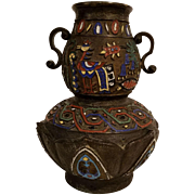 Early 20th Century Japanese Champlevé' Enamel Bronze Vase