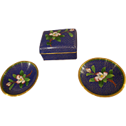 Vintage Cloisonne 3 Piece Smoke Set with Cigarette Box and 2 Ashtrays