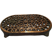 Vintage Oval Copper Plated Cast Iron Trivet Hot Plate