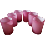 Set of 6 Antique Cranberry Pink Case Satin Glass Tumblers