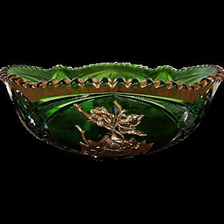 EAPG Emerald Green Master Berry Bowl by Co-operative Flint American Beauty Pattern