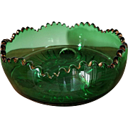 EAPG Emerald Green Master Berry Bowl by Riverside Glass ESTHER Tooth & Claw Pattern