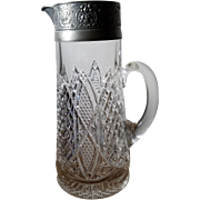 Early American Pattern Glass Pitcher with Pewter Spout