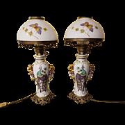 Pair of Antique Capo-di-Monte Porcelain Milk Glass & Gilt Brass Ormolu Oil Lamps Electrified by Ginori