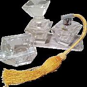 Beveled Heavy Glass Atomizer, Perfume Bottle, Trinket Box and Tray Set