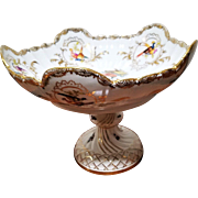 Signed Helena Wolfsohn Dresden Compote with Birds, Butterflies and Bees 1879-1882