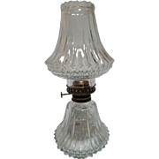 Vintage Diamond Cut Glass Oil Hurricane Lamp by Lamplight Farms.