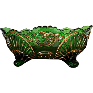 EAPG Emerald Green Oblong Footed Bowl with Gold Gilt Geneva or Shell and Scroll Pattern