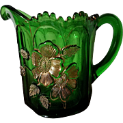 "EAPG Northwood Emerald Green and Gold Glass Creamer ""Gold Rose"""
