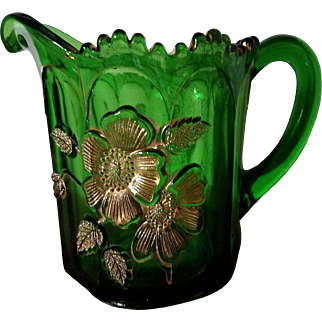 """EAPG Northwood Emerald Green and Gold Glass Creamer """"Gold Rose"""""""