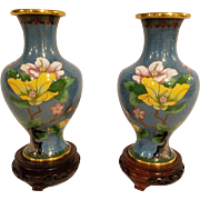 Pair of Vintage Mirror Image Chinese Cloisonné Enamel Vases Teal Blue Background