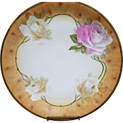 Royal Munich Porcelain Bavarian Plate with Roses and Wood Finish Background
