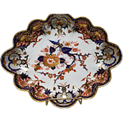 Edme Samson of Paris Antique Scalloped Dish in the Derby Imari Kings Pattern