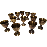 Vintage set of 12 Miniature Brass Goblets