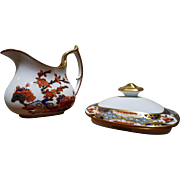 Spode Copelands England Imari Style Creamer and Sugar Lid Pattern #R3210