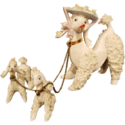 White French Poodle with Puppies Spaghetti Porcelain Figurines