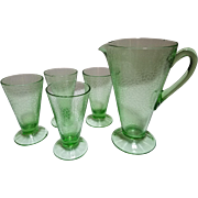 Green Crackle Depression Glass Pitcher with 4 Glasses