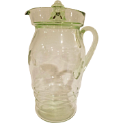 Green Depression Glass Pitcher with Lid By Dunbar Glass Co.