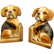 Vintage Ceramic Beagle Dog Book Ends Made in Japan