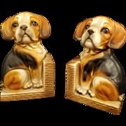 Vintage Ceramic Beagle Dog Book Ends Made in Japan
