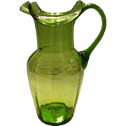 Antique Hand Blown Emerald Green Glass Pitcher with Enameled Painted Design
