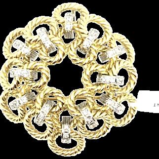 Vintage 14K Yellow White Gold Twisted robe Diamond Pin/ Pendant