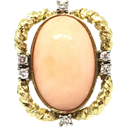 18k Yellow Gold Vintage ANGEL SKIN Coral and Diamond Ring