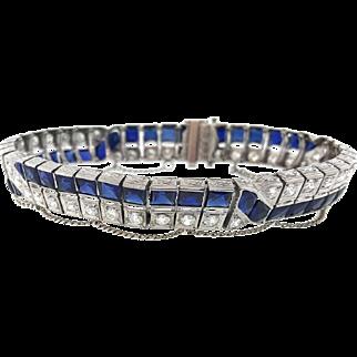 Art Deco Sapphire and Diamond Tennis Bracelet in Platinum