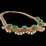 Vintage Retro Emerald Cabochon & Diamond Necklace 18K Rose Gold
